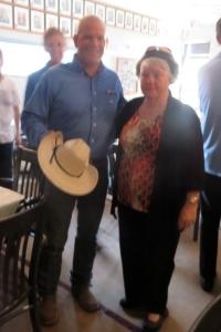 Bonnie Toews with Paul Nichols inside the Aurora Legion Hall.